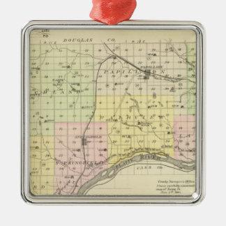 Sarpy County, Nebraska Silver-Colored Square Ornament