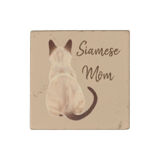 Sasha Siamese Cat Lover Kitty Looking Away Drawing Stone Magnets