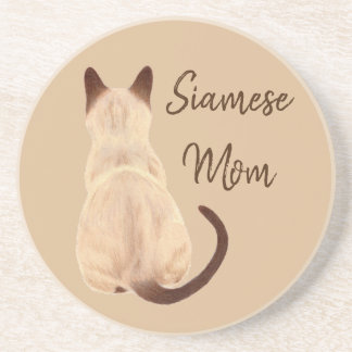 Sasha Siamese Cat Mom Kitty Looking Away Back View Coaster