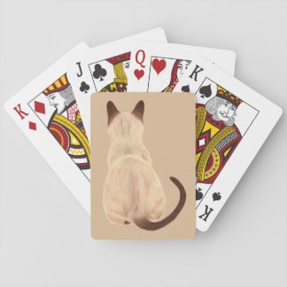Sasha Siamese Cat Mom Kitty Looking Away Back View Playing Cards