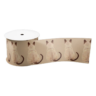 Sasha Siamese Cat Mom Kitty Looking Away Back View Satin Ribbon