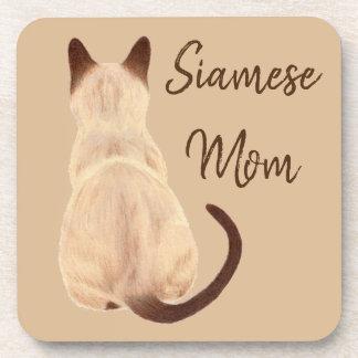 Sasha Siamese Cat Mom Kitty Looking Away Drawing Coaster