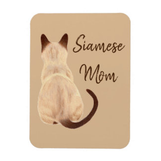Sasha Siamese Cat Mom Kitty Looking Away Drawing Magnet
