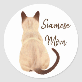 Sasha Siamese Cat Person Kitty Looking Away Art Classic Round Sticker