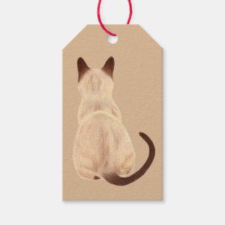 Sasha Siamese Cat Person Kitty Looking Away Art Gift Tags