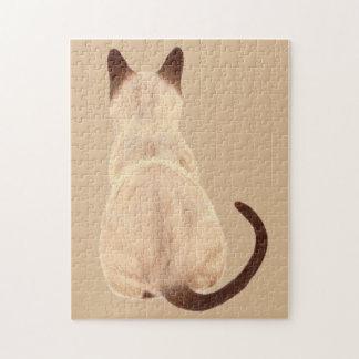 Sasha Siamese Cat Person Kitty Looking Away Art Jigsaw Puzzle