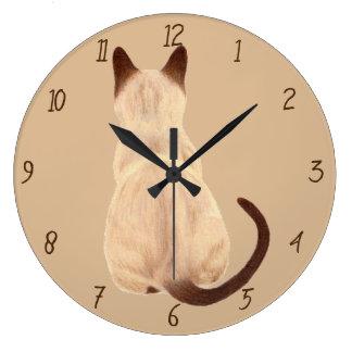 Sasha Siamese Cat Person Kitty Looking Away Art Large Clock