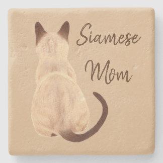 Sasha Siamese Cat Person Kitty Looking Away Art Stone Coaster
