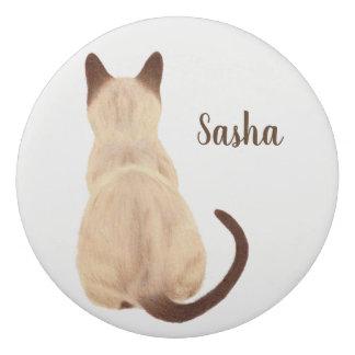 Sasha Siamese Cat Sitting Back View Kitty Custom Eraser