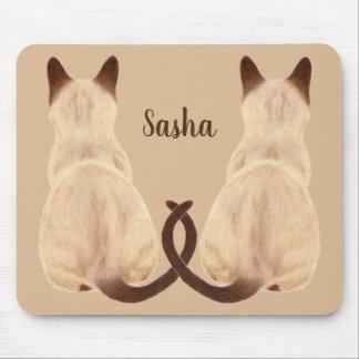 Sasha Siamese Cat Sitting Back View Kitty Custom Mouse Pad
