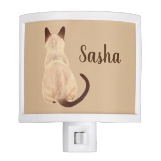 Sasha Siamese Cat Sitting Back View Kitty Custom Night Lights