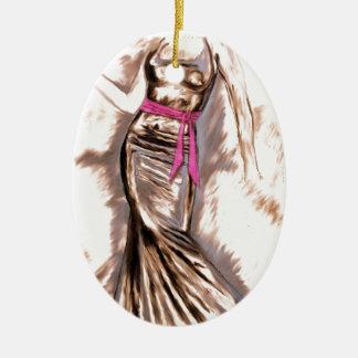 """Sashed"" Ceramic Oval Ornament"
