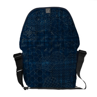Sashiko-style embroidery Des- Medium Messenger Bag