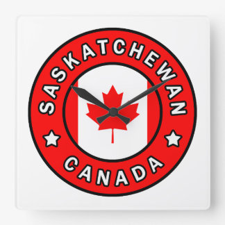 Saskatchewan Canada Square Wall Clock