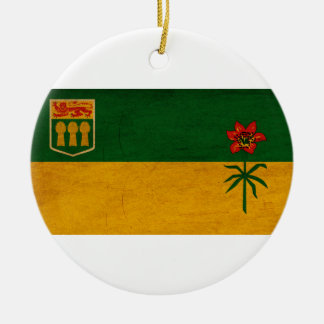 Saskatchewan Flag Round Ceramic Ornament