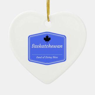 Saskatchewan - Land of living skys Ceramic Heart Ornament