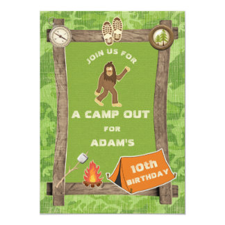 Sasquatch and Camo Camp Out Birthday Party Card
