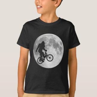 Sasquatch Bigfoot on Bike in Sky with Moon T-Shirt