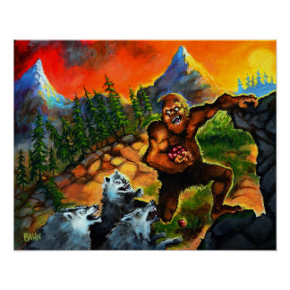 Sasquatch Chased By Wolves Poster