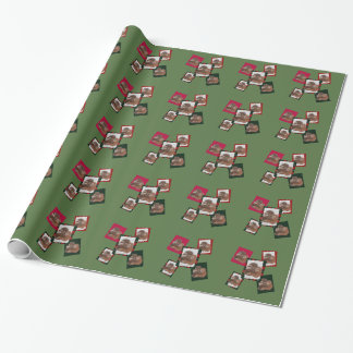 Sasquatch holiday wrapping paper in green