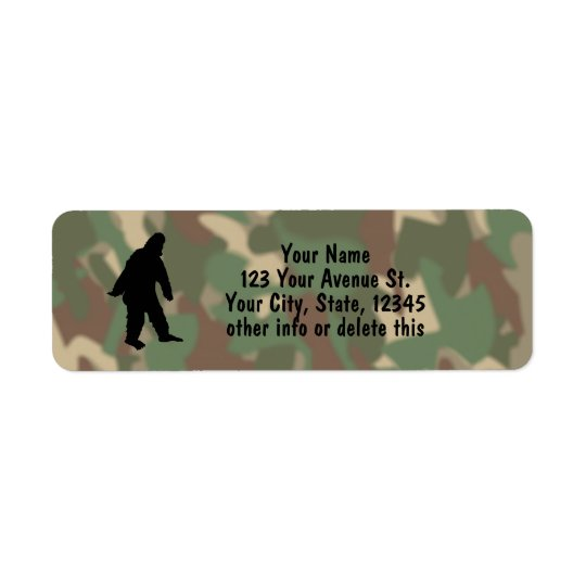 Sasquatch Silhouette Camouflage Address Labels Sm