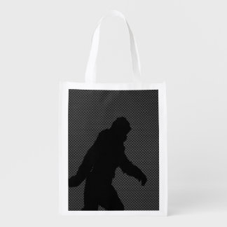 Sasquatch Silhouette on Carbon Fiber decor Reusable Grocery Bag