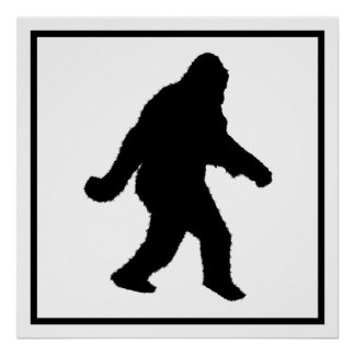 Sasquatch Squatchin' Silhouette Posters