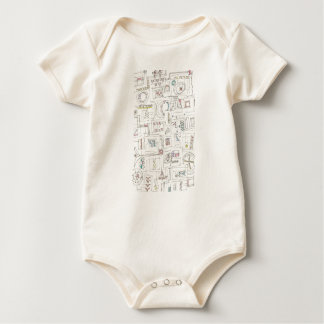 Sassy-Abstract Print Ink Drawing Baby Bodysuit