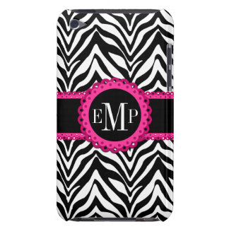 Sassy and Chic Zebra Print Pink Lace Monogram Barely There iPod Covers