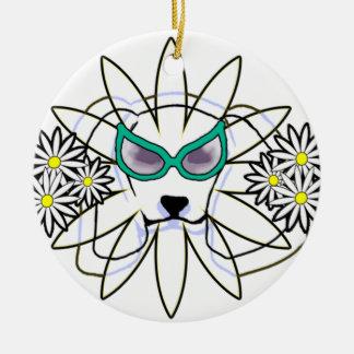 Sassy Beagle Round Ceramic Ornament