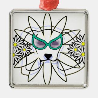 Sassy Beagle Silver-Colored Square Ornament