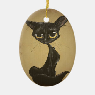 Sassy Black Cat Caricature Ceramic Oval Ornament
