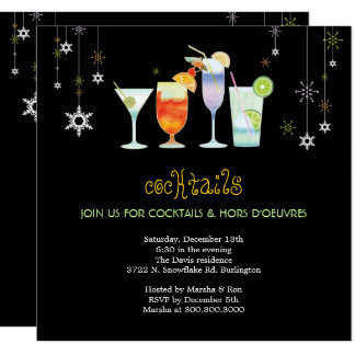 """Sassy Black Holiday Cocktail Glasses Party 5.25"""" Square Invitation Card"""