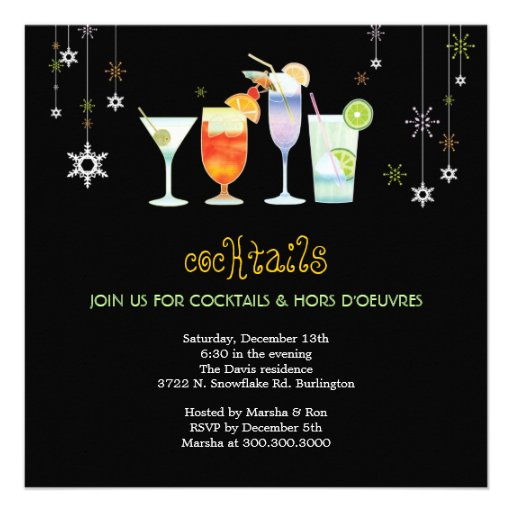 Sassy Black Holiday Cocktail Glasses Party Invites