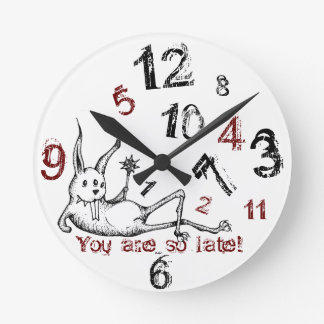 """Sassy bunny """"You're late"""" clock"""