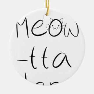 Sassy cat design round ceramic ornament