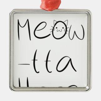 Sassy cat design Silver-Colored square ornament