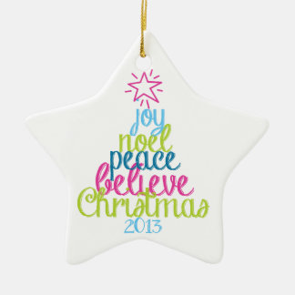 Sassy Christmas Word Tree Ceramic Star Ornament