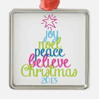 Sassy Christmas Word Tree Silver-Colored Square Ornament