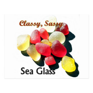 Sassy Classy Sea Glass - Red and yellow Postcard