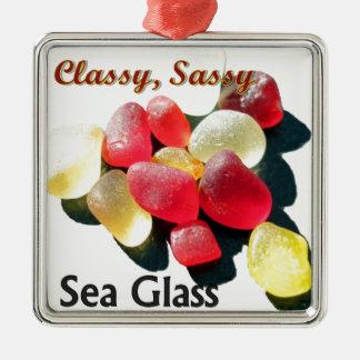 Sassy Classy Sea Glass - Red and yellow Silver-Colored Square Ornament
