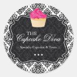 Sassy Damask  Cupcake - Packaging Stickers