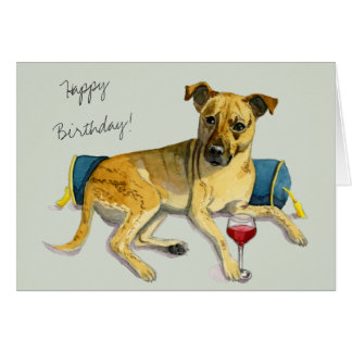 Sassy Dog Enjoying Wine Watercolor Painting Card