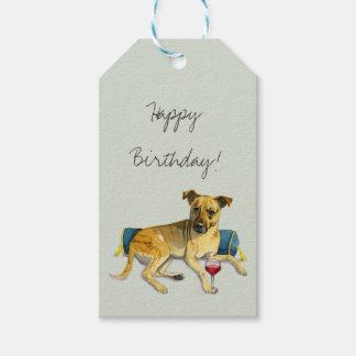 Sassy Dog Enjoying Wine Watercolor Painting Gift Tags
