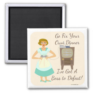 Sassy Fifties Gamer Housewife Square Magnet