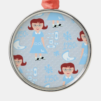 Sassy Fifties Girl Pattern Metal Ornament