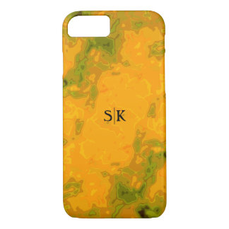 Sassy Golden Yellow Olive Green Monogram iPhone 8/7 Case