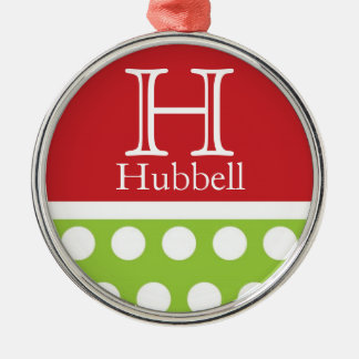 Sassy Green Dots Personalized Christmas Ornament