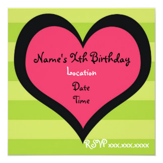 Sassy Heart Brithday Invitation