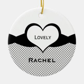 Sassy Heart Fishnet Ornament, Black and White Round Ceramic Ornament